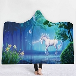 3d Printed Unicorn Hooded Blanket #38 130x150cm