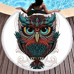 Microfiber Owl Round Beach Towels