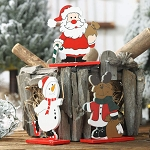 Wooden Christmas Desktop Decor With Red Base