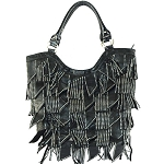 Rhinestone Studded Bling Bling Large Fashion Shoulder Tote Bag-Black