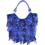 Rhinestone Studded Bling Bling Large Fashion Shoulder Tote Bag-Blue