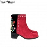 Trinity Ranch Western Leather Suede Booties Embroidered Collection