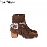 Trinity Ranch Western Leather Suede Booties Buckle Collection