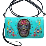 Multi Functional Western Sugar Skull Trifold Clutch Crossbody Wallet-Turquoise