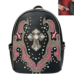 Western Spiritual Cross Backpack-Hot Pink