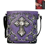 Spiritual Cross Embroidery Crossbody Bag-Purple