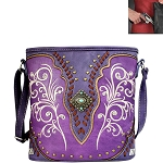 Concho Embroidery Crossbody Bag-Purple