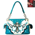 Concealed Carry Western Spiritual Cross Cut Off Design Shoulder Bag-Turquoise