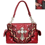 Concealed Carry Western Spiritual Cross Cut Off Design Shoulder Bag-Red