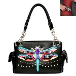 Dragon Fly Embroidery Shoulder Bag-Black