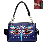 Dragon Fly Embroidery Shoulder Bag-Purple