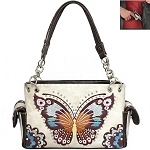 Western Butterfly Embroidery Shoulder Bag-Black