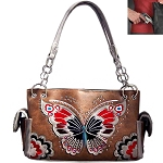Western Butterfly Embroidery Shoulder Bag-Tan