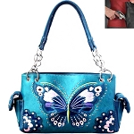 Western Butterfly Embroidery Shoulder Bag-Turquoise