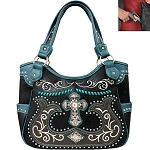 Western Spiritual Cross Embroidery Tote Shoulder Bag-Black