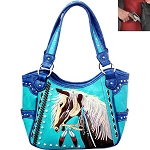 Western Horse Embroidery Tote Shoulder Bag-Turquoise