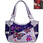 Concealed Carry Western Butterfly Embroidery Shoulder Bag-Purple