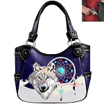Western Wolf Embroidery Tote Shoulder Bag-Purple