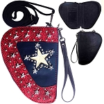 Texas Lone Star Studded Crossbody Gun Holster Shaped Conceal Carry Pouch-Red