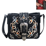 Buckle Floral Embroidery Crossbody Bag-Black