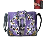 Buckle Floral Embroidery Crossbody Bag-Purple