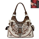 Concealed Carry Western Buckle Cut Out Design Shoulder Bag-Beige