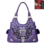 Concealed Carry Western Buckle Cut Out Design Shoulder Bag-Purple