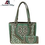 American Bling Floral Embroidery Collection Hobo and Wallet Set