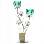 Peacock Bloom Candle Holder - Double