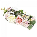 Blooming Faux Floral Candle Holder Centerpiece