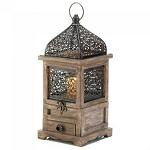 Flip-Top Wood Lantern with Drawer - 14 inches