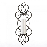 Iron Candle Sconce with Heart Flourishes