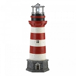 Red and White Solar Lighthouse Garden Statue