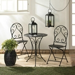 Scrolled Iron Bistro Set with Foldable Chairs
