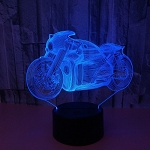 Motorcycle 3D LED Night Lights Baby Bedroom Lamp 7 Colors Change USB Desk Table Lamp Decoration Night Light Changeable/Clear/3w