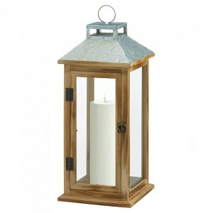 Square Wood Candle Lantern with Galvanized Metal Top - 18 inches
