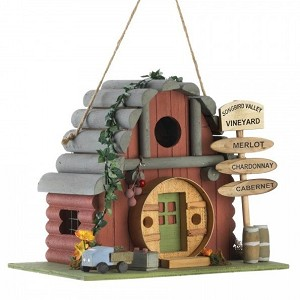 Vintage Winery Log Cabin-Style Bird House