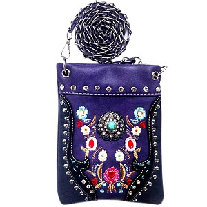 Western Concho Flower Embroidery Mini Crossbody Bag-Purple